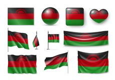 Set Malawi flags, banners, banners, symbols, realistic icon stock illustration