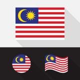 Set of Malaysia flag flat design  illustration Royalty Free Stock Photos