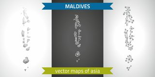 Maldives collection of vector design modern maps, gray and black and silver dot contour mosaic 3d map. Set of Maldives polygonal mosaic modern maps Royalty Free Stock Photo
