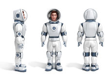 Set of male astronaut 3d illustration Stock Photography