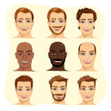 Set of male avatar with different hairstyles Royalty Free Stock Photography