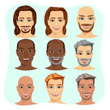 set of male avatar with different hairstyles Stock Image