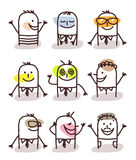 Set of male avatars - good moods Stock Image