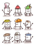 Set of male avatars - hats and traditions. Set of male avatars Stock Photography