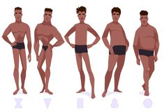 Set of male body shape types - five types. African americam men. Vector cartoon illustration Stock Photos