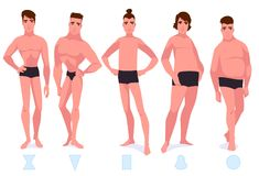 Set of male body shape types - five types. Vector cartoon illustration Stock Images