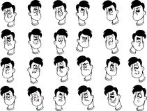 Set of male cartoon faces with emotional Stock Images