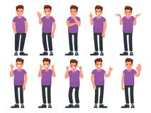Set of male character with different gestures and emotions. Vector illustration. In a flat style Royalty Free Stock Image