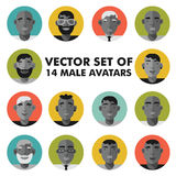 Set of male character faces avatars. Flat style  people icons set. Royalty Free Stock Photo