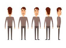 Set of Male characters. Man, boy, person, user. Modern vector illustration flat and cartoon style. Different positioning Royalty Free Stock Photos