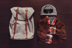 Set of male clothing and backpack Royalty Free Stock Images