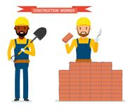 Set of male construction worker. Worker lays bricks, worker standing with a shovel in his hands. Isolated against white background. Vector illustration Stock Image