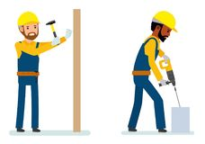 Set of male construction worker  Stock Image