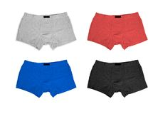Set of male cotton panties on white background. Fashion cloth, lingerie stock image