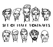 Set of male doodle hand drawn portraits. Black and white Royalty Free Stock Photo