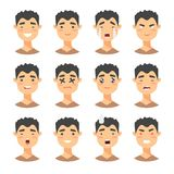 Set of male emoji characters. Cartoon style emotion icons.  boys avatars with different facial expressions. Flat illustrat Royalty Free Stock Image