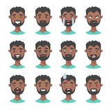 Set of male emoji characters. Cartoon style emotion icons. Isolated black boys avatars with different facial expressions. Flat ill Royalty Free Stock Photos