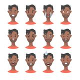 Set of male emoji characters. Cartoon style emotion icons. Isolated black boys avatars with different facial expressions. Flat ill Stock Photography