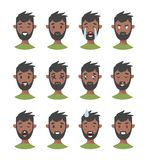 Set of male emoji characters. Cartoon style emotion icons. Isolated black boys avatars with different facial expressions. Flat ill Royalty Free Stock Photo