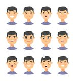 Set of male emoji characters. Cartoon style emotion icons. Isolated boys avatars with different facial expressions. Flat illustrat Stock Images