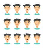 Set of male emoji characters. Cartoon style emotion icons. Isolated boys avatars with different facial expressions. Flat illustrat Royalty Free Stock Photos