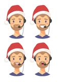 Set of male emoji customer support phone operator in Christmas hat. Callcenter worker with headset. Cartoon vector. Set of emoji customer support phone operator Stock Photography