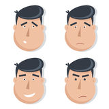 Set of male faces with emotions. Royalty Free Stock Photo