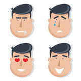 Set of male faces with emotions. Stock Photo