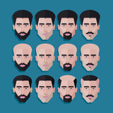 Set of male faces in flat polygonal style. men hair style icons Royalty Free Stock Photo