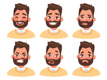 Set of male facial emotions. Bearded man emoji character with di Royalty Free Stock Photo