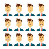 Set of male facial emotions. Bearded man emoji character with different expressions. Vector illustration in cartoon. Set of avatars with male emotions including Royalty Free Stock Image