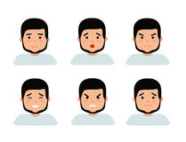 Set of male facial emotions. Bearded man emoji character with different expressions. Royalty Free Stock Photo