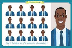 Set of male facial emotions.Black American business man character. With different expressions.Vector illustration in cartoon style.Peoples faces, men, person Stock Photo