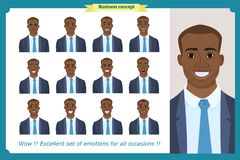 Set of male facial emotions.Black American business man character. With different expressions.Vector illustration in cartoon style.Peoples faces, men, person Stock Images