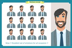 Set of male facial emotions. Business man character with different expressions.Vector flat. Set of male facial emotions. Young business man character with Stock Photos