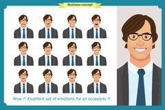 Set of male facial emotions. Business man character with different expressions.Vector flat. Set of male facial emotions. Young business man character with Stock Photography