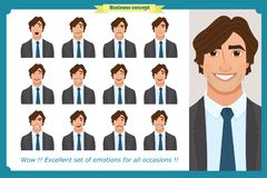 Set of male facial emotions. Business man character with different expressions.Vector flat. Set of male facial emotions. Young business man character with Stock Photo