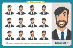Set of male facial emotions.Face expressions of a man. Flat cartoon character. Businessman in a suit.Isolated vector on white. royalty free illustration
