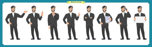Set of male facial emotions.Flat cartoon character. Businessman in a suit and tie. business people in round icons.  vector. Face expressions of a man. Flat Stock Photography
