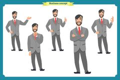 Set of male facial emotions.Flat cartoon character. Businessman in a suit and tie. business people in round icons.  vector. Face expressions of a man. Flat Stock Image