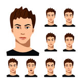 Set of male facial emotions. Stock Photography