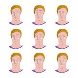 Comix. Set of male facial emotions. Man emoji character with different expressions Royalty Free Stock Photography