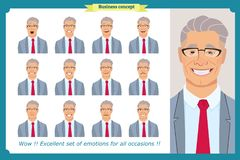 Set of male facial emotions. Business man character with different expressions.Vector flat. Set of male facial emotions. Young business man character with Royalty Free Stock Images