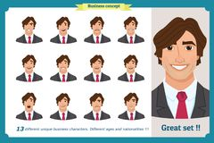 Set of male facial emotions. Young business man character with different expressions.Vector flat illustration in cartoon style. Peoples faces, men, person. Male royalty free illustration