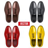 Set of Male fashion classic shoes. Vector. Royalty Free Stock Photography