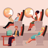 Set of male and female airplane passengers in business class Stock Images