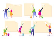 Set of male and female characters holding paint rollers and glue ads. Happy flat people characters with advertising, blank, billbo. Ards, presentation stock illustration