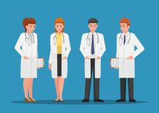 Set of male and female doctors characters. Medical team concept royalty free illustration