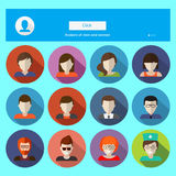 Set of male and female faces avatars. Vector icons Royalty Free Stock Images