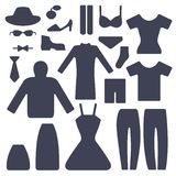 Set of male and female garments Stock Photography